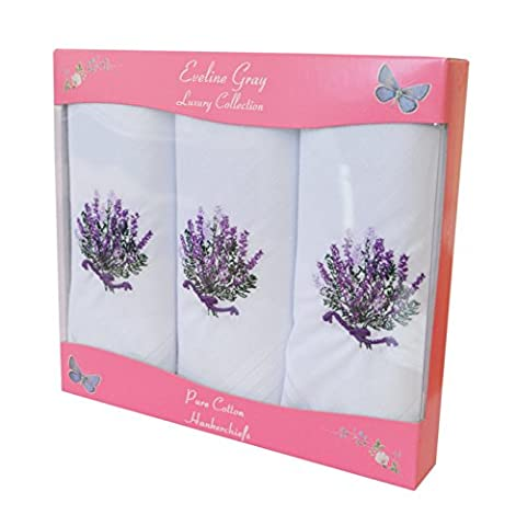 3 Pack Womens/Ladies White Handkerchiefs With Lilac Lavender Embroidery Design In Luxury Box