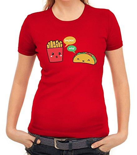 Lustiges Damen T-Shirt mit Taco Pommes Motiv von ShirtStreet Rot