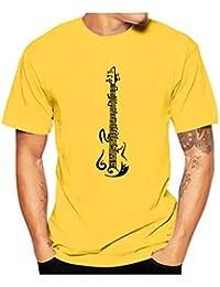Tefamore Camiseta De Manga Corta para Hombre Camiseta De Manga Corta con Cuello Redondo Y Estampado Note para Hombre T-Shirt
