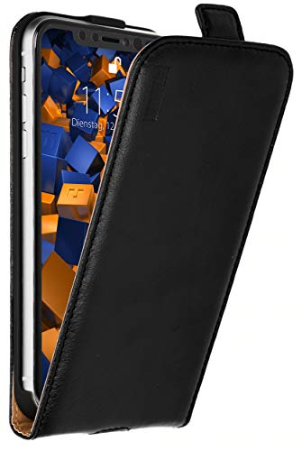 mumbi Premium Echt-Leder Flip Case kompatibel mit iPhone XRtasche, schwarz