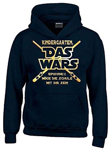 S Sweatshirt mit Kapuze Hoodie Einschulung Schulanfang schwarz-gold, Gr.128cm (Star Wars-foto-einladungen)