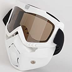 Mototrance MT610058-2 ABS Detachable Goggles Nose Face Mask (White)