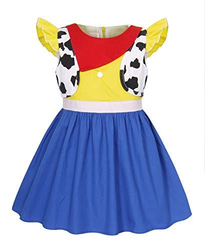 tüm Kinder Mädchen Kuhmädchen Schick Party Kleid Kurze Ärmel Baumwolle Kleider Spielzeug Geschichte Cosplay Ankleiden Geburtstag Karneval Halloween Kleidung ()