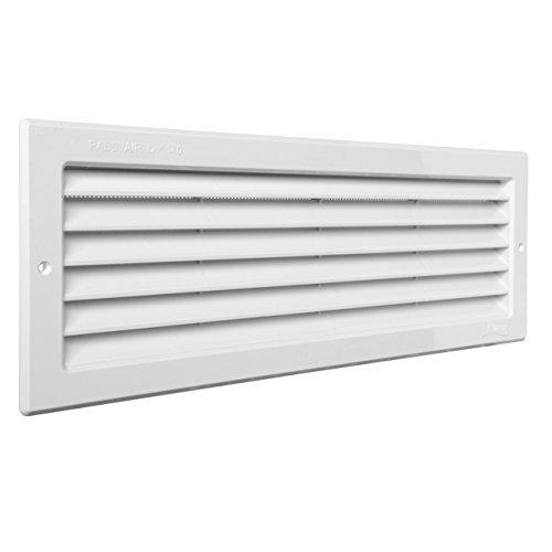 La Ventilazione PR3713B La PR3713B-Y Griglia Plastica Rettangolare da Incasso, Bianco, 370x130 mm