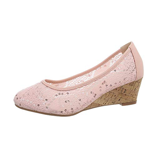 Ital-Design Damenschuhe Pumps Keilpumps Synthetik Rosa Gr. 39