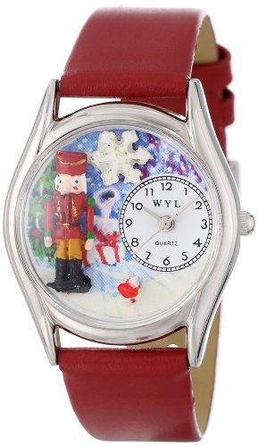 Drollige Uhren-Nussknacker rot Leder Silvertone Unisex Quartz-Uhr mit weißem Zifferblatt Analog-Anzeige und S-1220007 Mehrfarbige Lederband (Band Nussknacker)