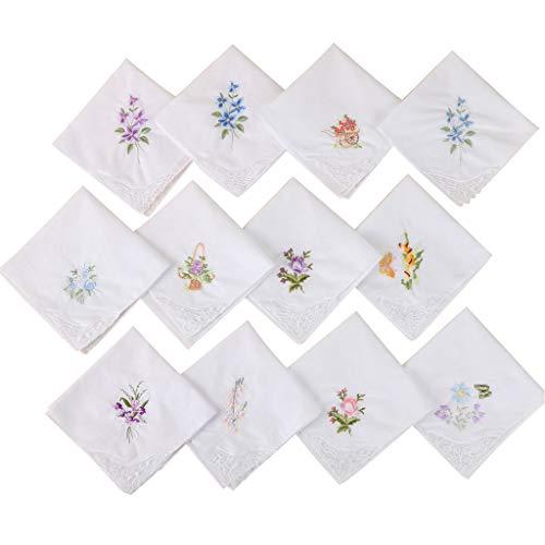 Baby-Lätzchen, mit Taschentuch und Spitze, Weiß, quadratisch, mit Blumenmotiv, bestickt, zufällige Farbauswahl rot