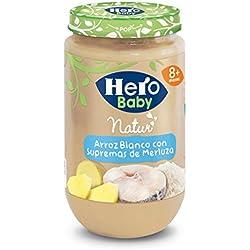 Hero Baby Natur Potito de Arroz Blanco con Supremas de Merluza para Bebés a partir de los 8 meses 235 g