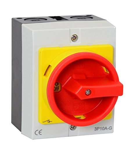 Hauptschalter 16A 3-polig im Gehäuse, Lasttrennschalter, Not-Aus-Schalter, JS3P16A-G -