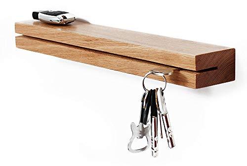 M-KeyCases Moderna estantería de Pared Perchero Estante Colgador de Llaves de Madera de Roble en Rack Clave Claves de Percha Blanco Natural Diseño decoración