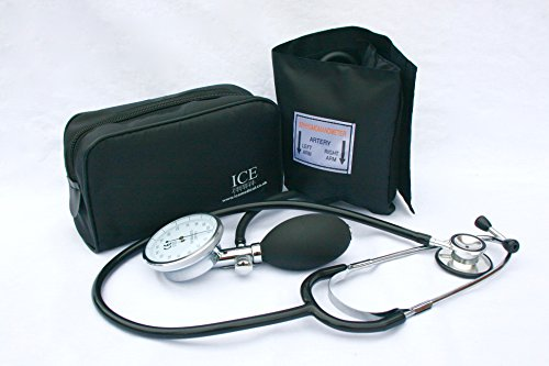 Aneroid-kit (Aneroid Sphygmomanometer - with 1 Adult Cuff and Black Stethoscope - Blood Pressure Monitor Kit by ICE Medical)