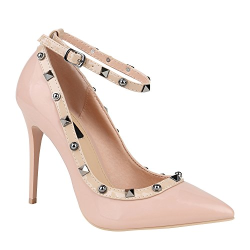 Stiefelparadies Damen Spitze Pumps Stilettos High Heels Party Schuhe Lack Nieten 151477 Rosa Bexhill 37 Flandell