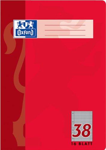 Preisvergleich Produktbild Oxford 100050318 Schule Schulheft, A4, Lineatur 38 - kariert , Rand li. + re. , perforiert , 4-fach gelocht, 16 Blatt, 15er Pack