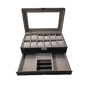"""1PLUS Uhren Aufbewahrung Uhrenbox Uhrenkoffer Uhrenkasten """"Zürich"""" für 12 Uhren und Schmuck, schwarz"""