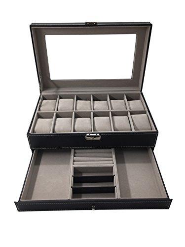 1PLUS Uhren Aufbewahrung Uhrenbox Uhrenkoffer Uhrenkasten