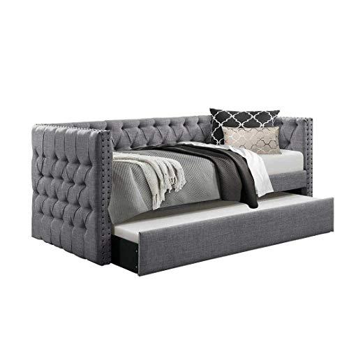 Galaxy Market Lucia Chesterfield Day, Camera da Letto Letto Estraibile | Furniture, Estraibile in Velluto e Tessuto Singolo Grey