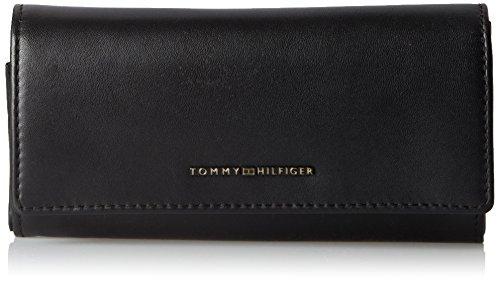 Tommy Hilfiger Leather Twist Large Ew Wallet, Women's Schwarz (Black), 3x10x19 cm (wxhxd)