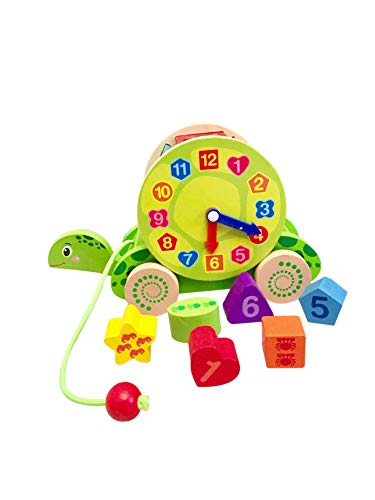 Nachzieh Holzspielzeug, Schildkröte, Motorik Spielzeug, Nachziehtier bunt, aus Holz, Geschenk Motorik Spielzeug, bunt, Holz Spielzeug 2+ Kinder Kleinkinder