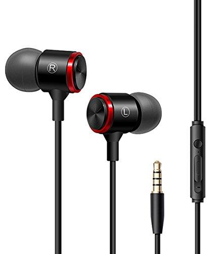 Zeuste In Ear Kopfhörer Stereo Ohrhörer inklusive Mikrofon für iOS- und Android-Geräte usw mit 3.5mm Klinkenstecker (Schwarz) (Klavier-musik-iphone 6 Fall)