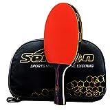 Professioneller Tischtennisschläger von Caleson. Fortschrittlicher Tennisschläger. Ping-Pong-Schläger. Offener Griff., Long-handle Red C 2 (Tasche ist dabei)