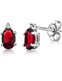 Miore Earrings Women White Gold studs  Ruby with Brilliant Cut Diamonds  9 Kt / 375