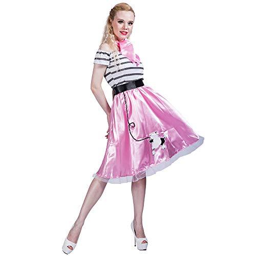 Jahre Pudel Rock Retro Kostüm Faschingskostüme Cosplay Halloween Party Karneval Fastnacht Kleid für Erwachsene ()