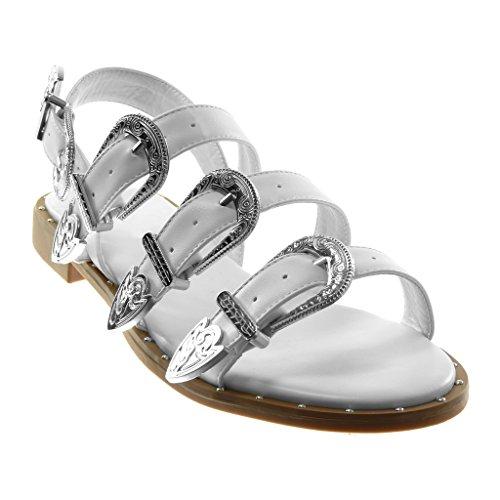 Talon Mode Clouté Spartiates Lanière Cm Bloc Multi Sandale Cheville Boucle Femme  bride Blanc Chaussure 2 Angkorly gX4nP85 4203596d929