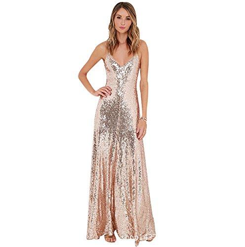 BOMOVO Damen Pailletten Abendkleid Langes Klei Weiß