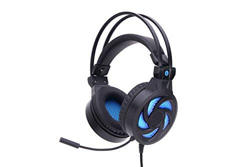Aliyao LED Gaming Vibrations Kopfhörer, Lärm abbrechen und Lautstärkeregelung 3D Surround Sound Headset mit Soft Earmuffs für PC-Spiele PS4 Computer Laptop (Schwarz)