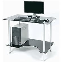 Zyon ZB500 vetro nero contemporaneo e alluminio scrivania con scaffale