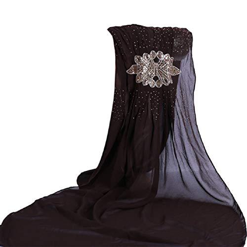 Barlingrock Women Glitters Hijab Muslimisches Kopftuch Cap Islamic Chiffon Shawl Roll-brim Straw