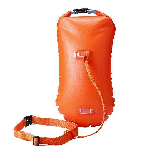 talogca Schwimmboje Aufblasbare Schwimmtasche, Umweltfreundlich PVC Schwimmen Lebensrettende Beutel mit Justierbarem Gurt für Outdoor Schwimmen und Rafting
