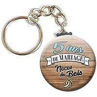 Porte Clés Chaînette 3,8 centimètres 5 Ans de Mariage Noces de Bois Idée Cadeau Accessoire Accessoire Anniversaire…