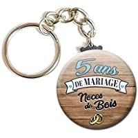Porte Clés Chaînette 3,8 centimètres 5 Ans de Mariage Noces de Bois Idée Cadeau Accessoire Accessoire Anniversaire Mariage Couple