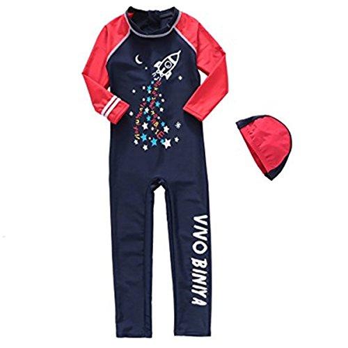 FAIRYRAIN Baby Kids Girls Boys One Piece Swimwear Long Sleeve UV 50+ Sun Protection Rash Guard Swimsuit with Caps