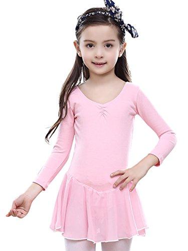 Man Wie Ballett-tutu (Feoya Mädchen Balletttrikot Ballettkleid Langarm Ballettanzug Gymnastikanzug Ballettröckchen Tanzleotard-Rosa)