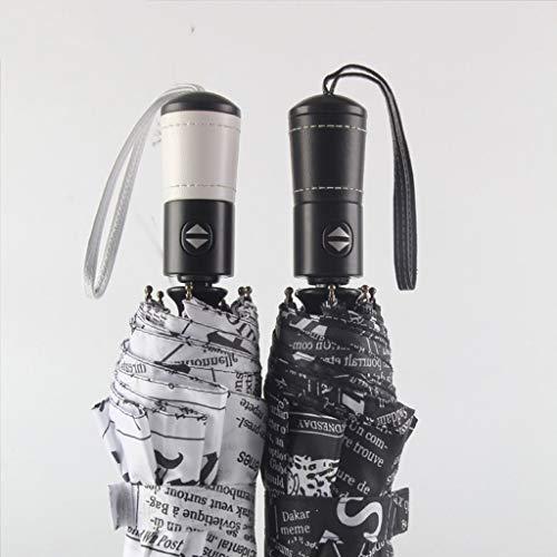Wghz Guo Creative Newspaper Umbrella Umbrella Folding selbstschließenden Regenschirm Regenschirm für Männer und Frauen (Farbe: Weiß)