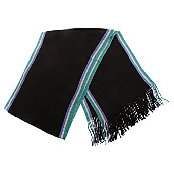 Mens Knitted College Winter Scarf (182cm x 26cm) (Black)