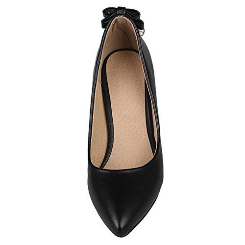 TAOFFEN Damen Elegant Blockabsatz Schuhe Pointed Toe Slip On Pumps Schwarz