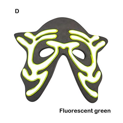Carbon Pro Kostüm - Webla Horror Maske Für Halloween Kostüm Party Halloween Maske LED Maske Leuchtend Beleuchtet Tanzmaske Gruselige Maske, Kunststoff