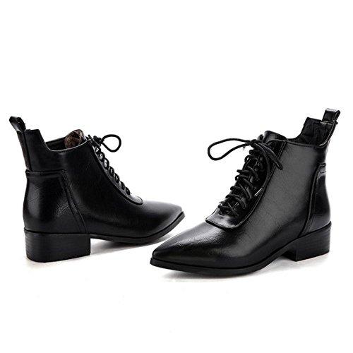 COOLCEPT Femmes Mode Bottes Lacets Black
