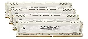 Ballistix Sport LT 64 GB Kit (16 GBx4), DDR4, 2400 MT/s, (PC4-19200) Dual Rank DIMM 288-Pin, Bianco, BLS4C16G4D240FSC