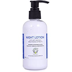 Greenberry Organics Night Lotion with Anti-ageing & Brightening Extracts | Goodness of Organic Murumuru Butter, Pracaxi Oil Complex & Pomegranate Oil | No Alcohol, Mineral Oil, Parabens | 200 ML