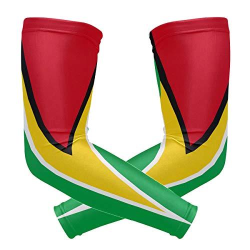 zzkko Guyana Flagge Kühlung Arm Sleeves Abdeckung UV-Sonnenschutz für Herren Damen Running Golf Radfahren Arm Warmer Ärmel 1Paar