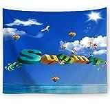 KaiXINSun Sommer Blauer Himmel Weiße Wolken Schöne Landschaft Tapisserie Wand...