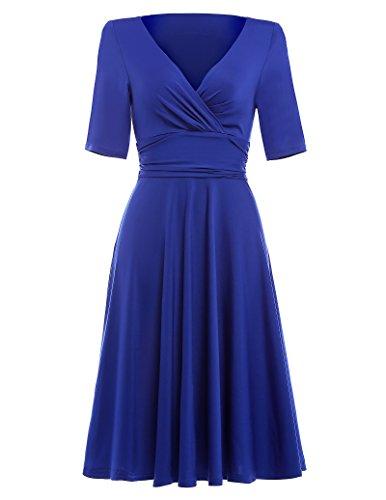 50s dress rockabilly kleid sommerkleid damen knielang cocktailkleider empire kleid blau M BP006-3