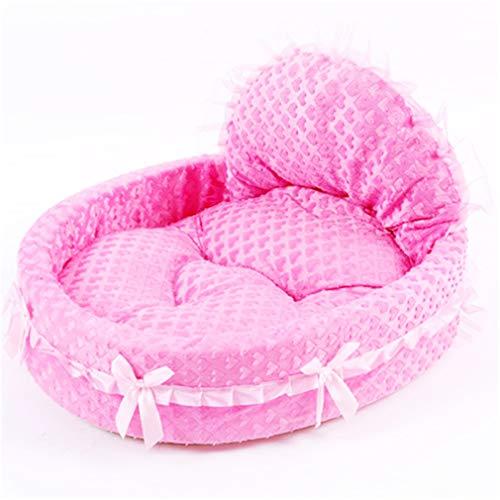 Luxus Spitze Prinzessin Hundebett Katze Wurf Welpen Nest Mat Soft Doggy Kissen Teddy Pet Betten Für Kleine Mittelgroße Hunde Katze Sofa Kennel Pink Heart 46x43cm -
