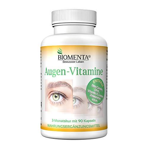 BIOMENTA AUGEN-VITAMINE   AKTION!!!   Beta Carotin + Lutein + Zeaxanthin + DHA (Omega-3) + Vitamin A + Vitamin B2 + Vitamin C + Zink   3 Monatskur   90 Augenkapseln -
