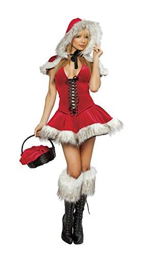 Damen Santa Kostüme inkl. Fancy Halter Neck Kleid Kleid + T-back + Hut Xmas Outfits Bühnen Performance Kostüm Rot One Size