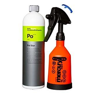 HEWADI® SET Pflege Set Koch Chemie Pol Star und Kwazar Mercury Sprühflasche 360 Grad 0,5 Liter,Inklusive Flaschenöffner von Advanced23